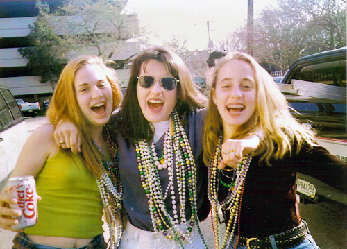This is Mardi Gras 1993.  I LOVE that it looks like I am doing an ad for Diet Coke here.  Mardi Gras at 16 - nope, wouldn't recommend it to my own kids, but boy was it an experience!  Jenn is on the far right.